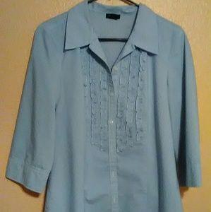 Ann Taylor pinstripe ruffle front blouse